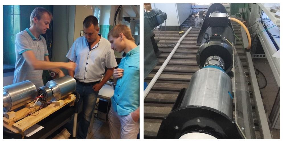 """В лаборатории кафедры """"Системы электропривода"""" на фото (слева на право): Марио Штаманн, Андрей Егоров, Алексей Дунев"""