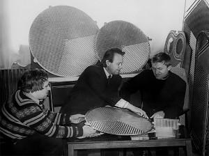 Доц. Л. Л. Товажнянський, ст. інженери М. С. Чусь і А. Ю. Перевертайленко (1980)