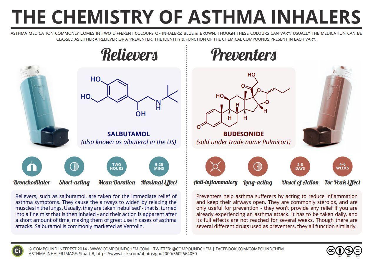 Инфографика Химия и химический состав Ингаляторов от астмы
