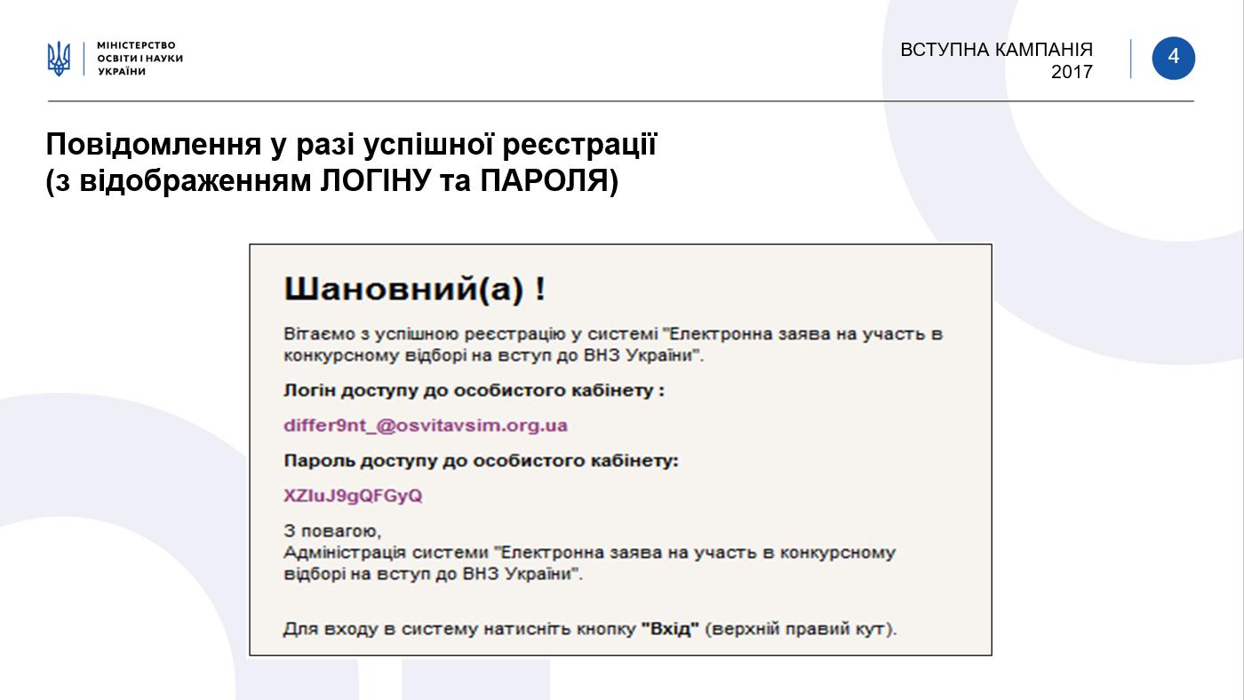 Электронное заявление на участие в конкурсном отборе на поступление в ВУЗы Украины