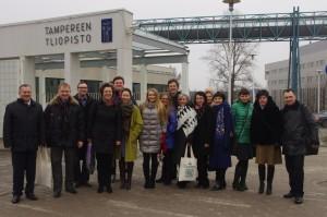 Участники проекта программы TEMPUS «Образование для лидерства, интеллигентности и развития таланта во время посещения University of Tampere (06.04.2015)