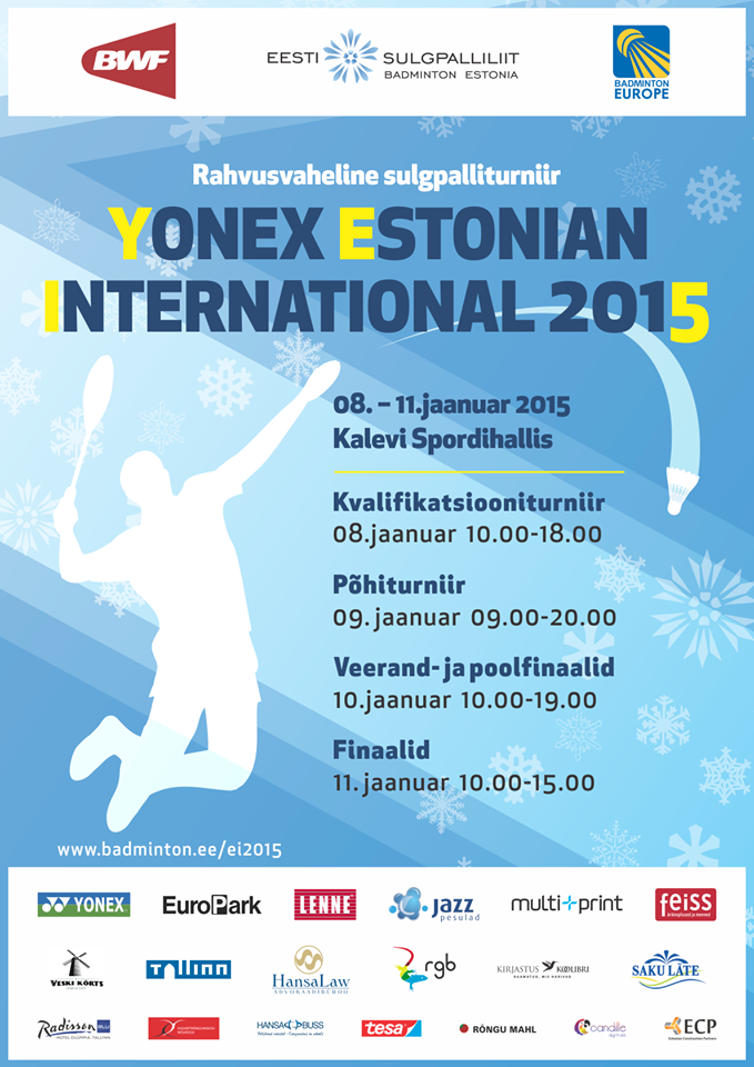 МЕЖДУНАРОДНЫЙ ТУРНИР ПО БАДМИНТОНУ YONEX ESTONIAN INTERNATIONAL-2015