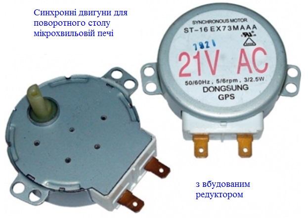 Електродвигуни для мікроволнової печі